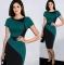 New Fashion Elegant O-neck Sleeveless Knee-length Women Optical Illusion Slimming Dresses green l