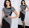 New Fashion Elegant O-neck Sleeveless Knee-length Women Optical Illusion Slimming Dresses black m