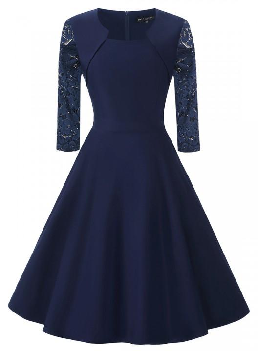 Summer Vintage Dresses Round Neck A-Line Knee-Length Seven Points Sleeve Lace-Up Retro Dress blue xxl