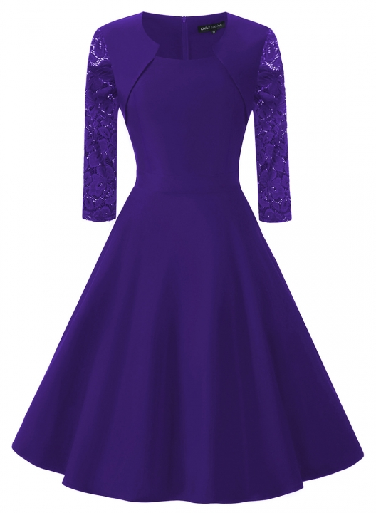 Summer Vintage Dresses Round Neck A-Line Knee-Length Seven Points Sleeve Lace-Up Retro Dress purple l
