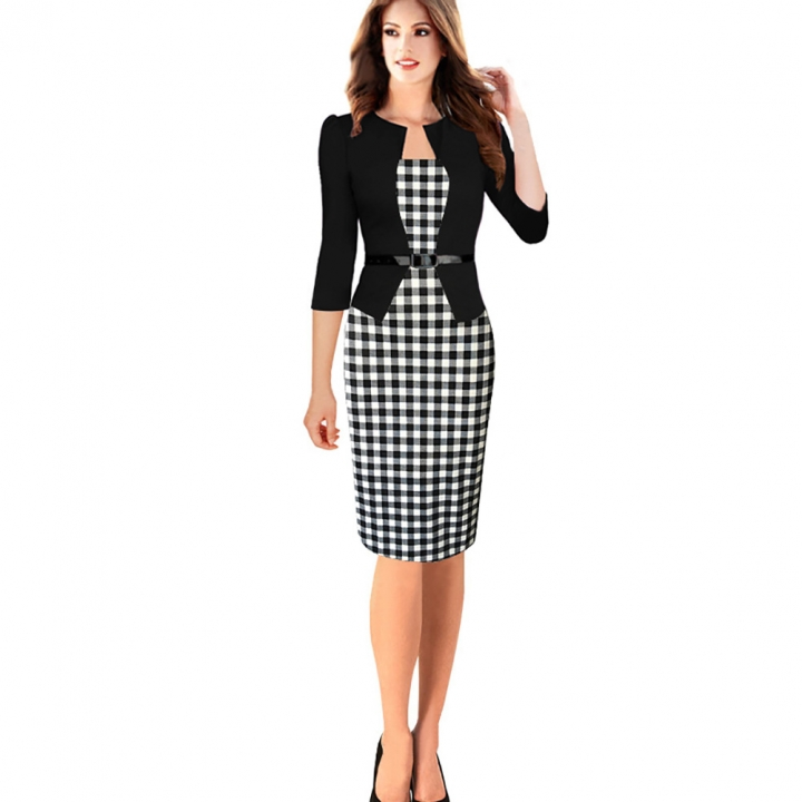 Women's Floral Houndstooth Plaid Print Patchwork Work Business Pencil Sheath Bodycon Dress black check m