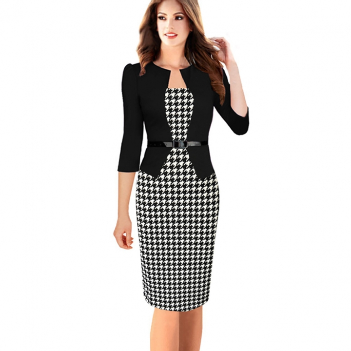 Women's Floral Houndstooth Plaid Print Patchwork Work Business Pencil Sheath Bodycon Dress houndstooth xl