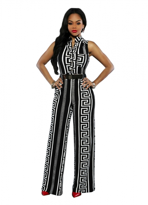 584cff79965b S-XL Plus Size Large Casual Belted Wide Leg Full Length Women Jumpsuit  Jumpsuits Rompers