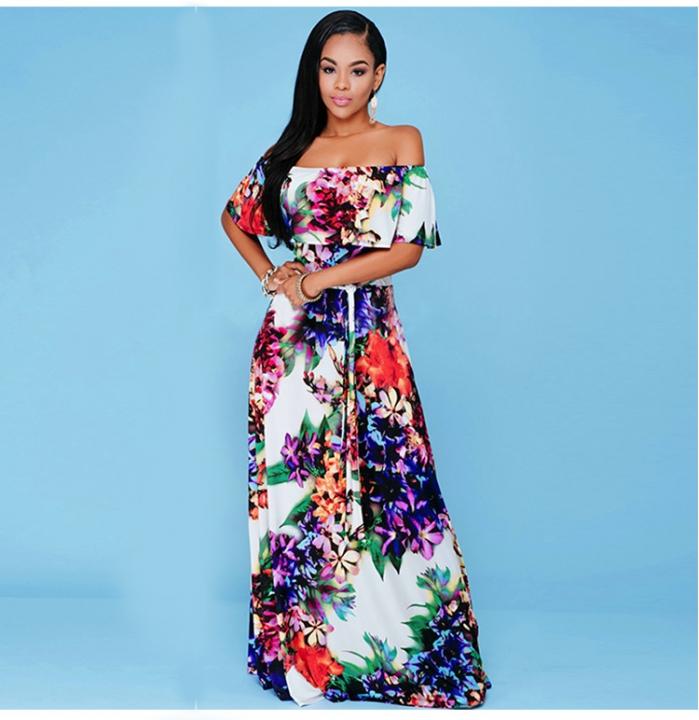 Sexy Off Shoulder Ruffles Long Boho Beach Dress Women Floral Print Strapless Maxi Dress picture color xl