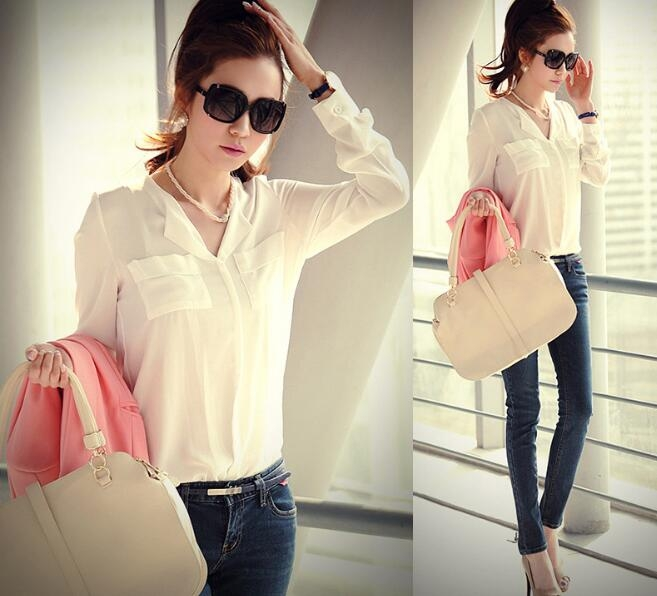 Women Chiffon Blouse Ladies White Elegant Sexy V-neck Blouses Long Sleeve Shirt white m