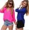 Women Blouse Ladies Solid Elegant V-neck Blouses Long Sleeve OL Office Chiffon Shirt blue l