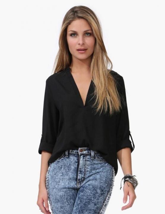 Women Blouse Ladies Solid Elegant V-neck Blouses Long Sleeve OL Office Chiffon Shirt black m