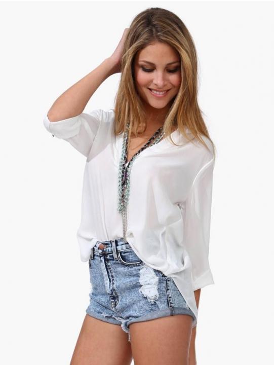 Women Blouse Ladies Solid Elegant V-neck Blouses Long Sleeve OL Office Chiffon Shirt white l