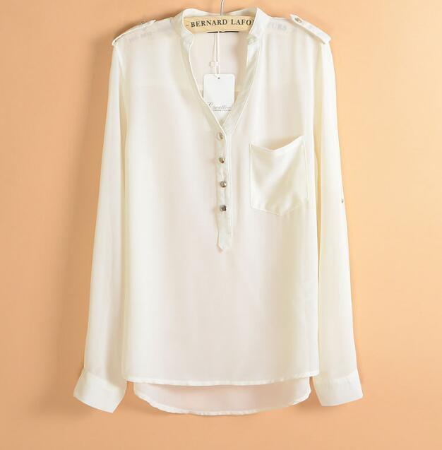 New Fashion Chiffon Blouses Sexy V-Neck Women Chiffon Blouse Office Work Shirts white xl