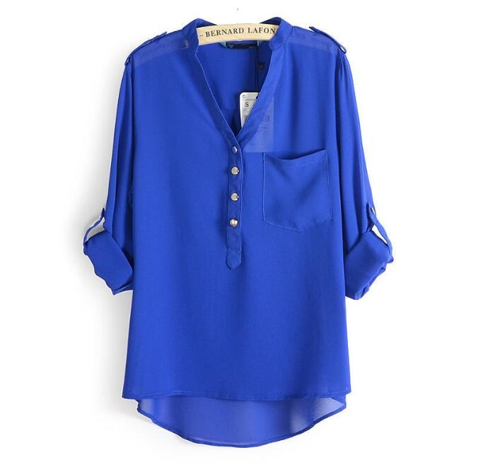 New Fashion Chiffon Blouses Sexy V-Neck Women Chiffon Blouse Office Work Shirts blue xl