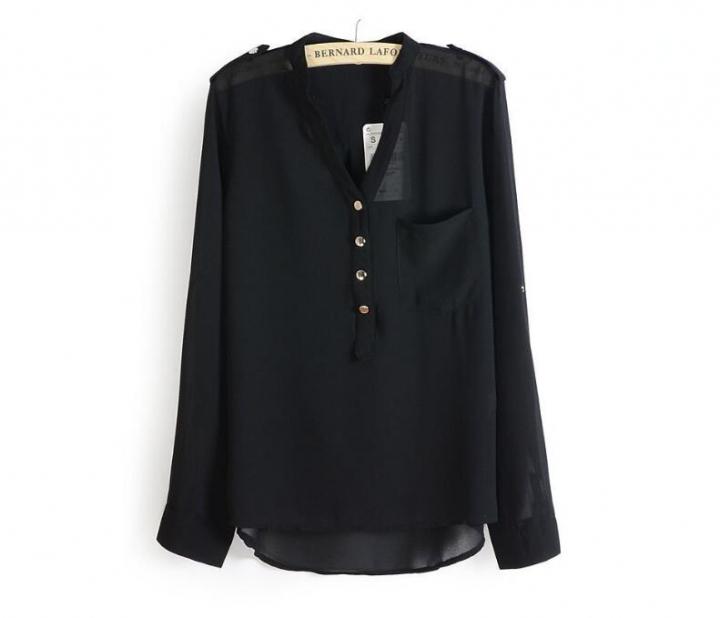New Fashion Chiffon Blouses Sexy V-Neck Women Chiffon Blouse Office Work Shirts black s