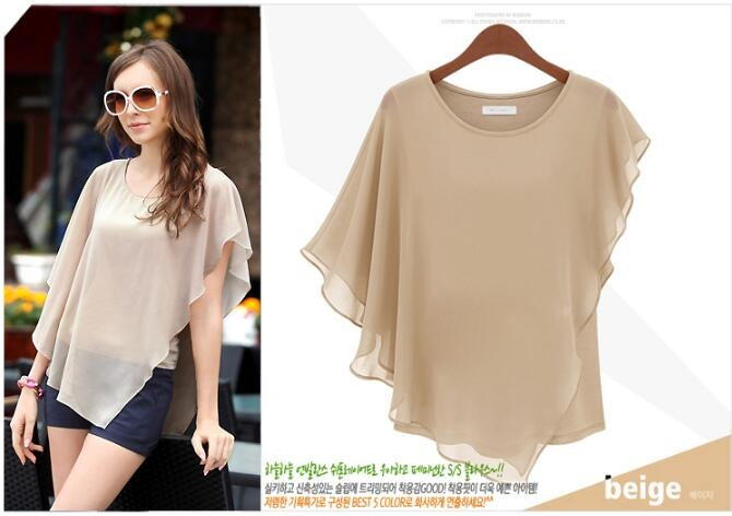 Hot Fashion Elegant Womens Blouse Summer Shirts Bat Short Sleeve Splicing Chiffon Blouse khaki m