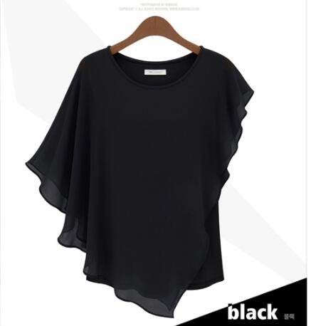 Hot Fashion Elegant Womens Blouse Summer Shirts Bat Short Sleeve Splicing Chiffon Blouse black xl