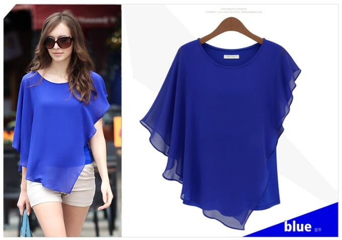 Hot Fashion Elegant Womens Blouse Summer Shirts Bat Short Sleeve Splicing Chiffon Blouse blue s