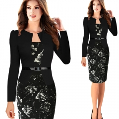Womens Elegant Faux Twinset Belted Wear to Work Business Pencil Sheath Bodycon Dress black white s