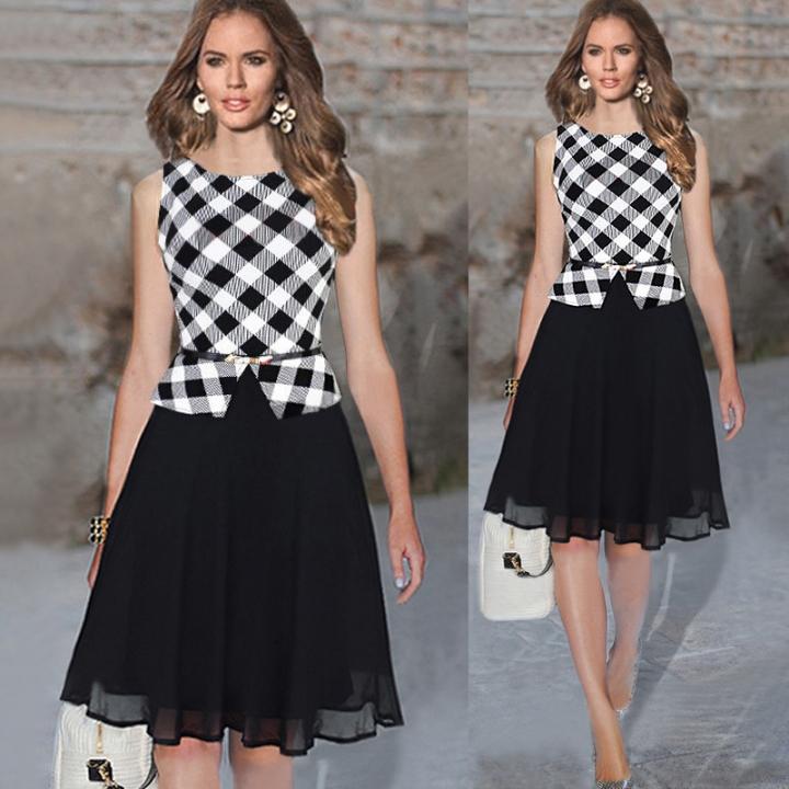Plaid Sleeveless Sheath O-Neck Waist Elegant Chiffon Stitching Dress black white m
