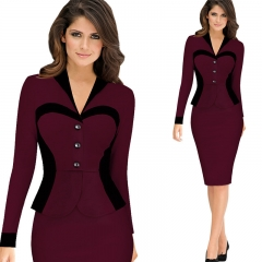 Elegant Lady Long sleeve Patchwork Sheath Buttons Fitted Ruffles Women Bodycon Bandage Dress red s