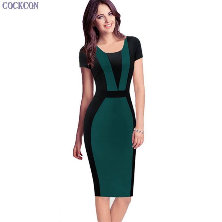 Womens Elegant Sexy O-neck Short Sleeve Patchwork Bodycon Office Dress Knee-length Pencil Dress green l