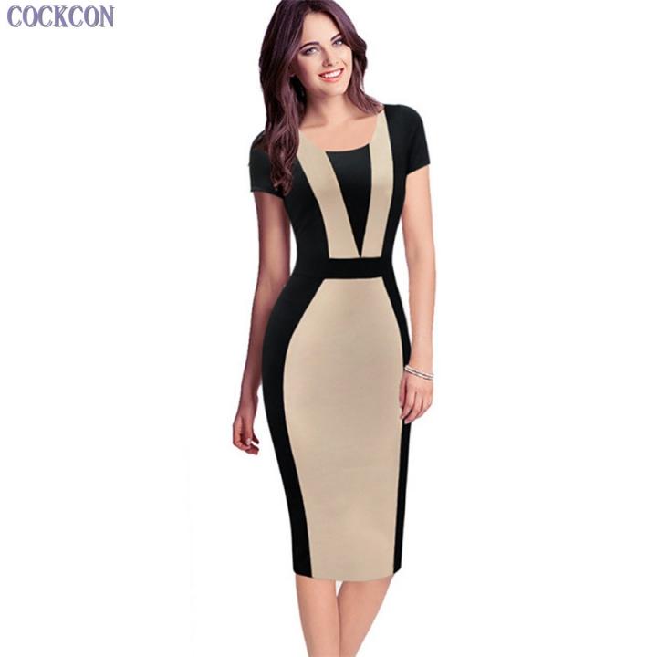 Womens Elegant Sexy O-neck Short Sleeve Patchwork Bodycon Office Dress Knee-length Pencil Dress apricot xxl