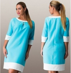 Plus Size Business Office Dresses Wear To Work Elegant Pice Hip Bodycon Formal Dresses blue l