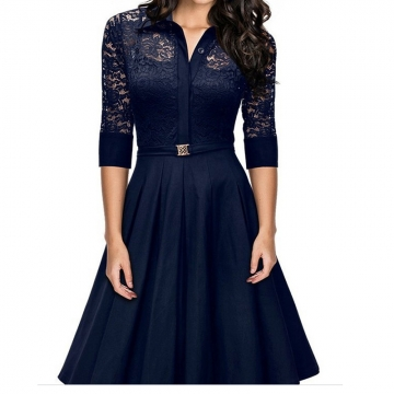 Women's Hollow Out Lace Dress Three Quarter Turn-down Autumn Office Lady Dress blue m