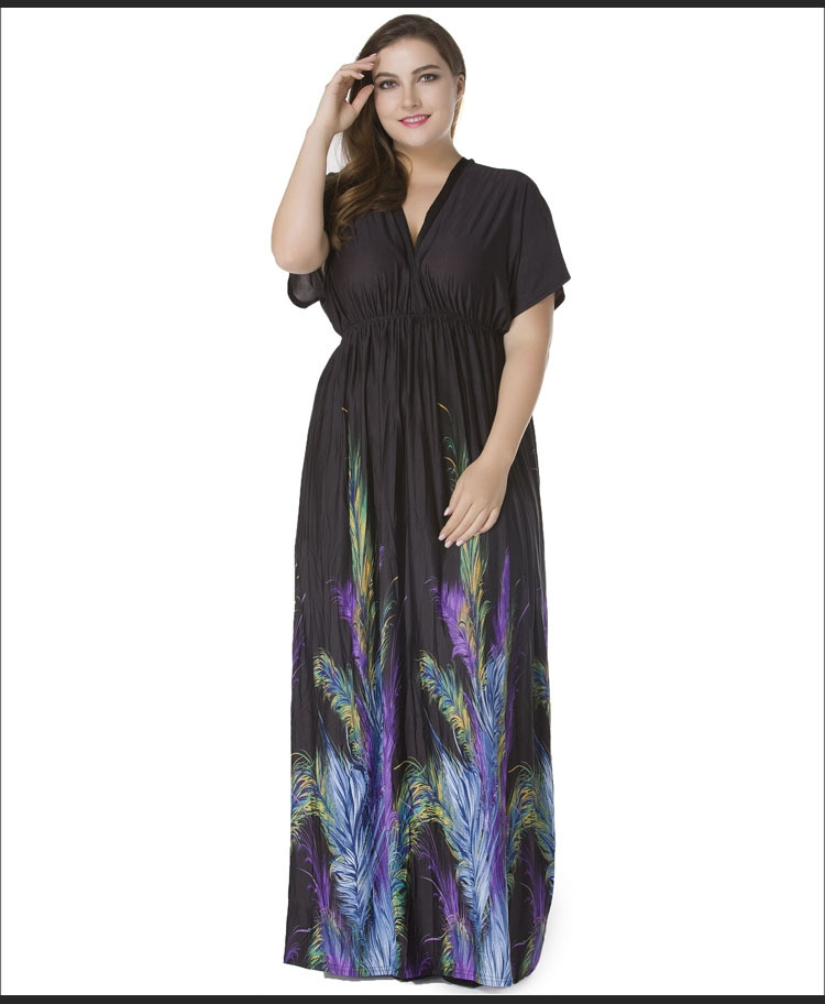 699b272545f Plus Size Women Summer Boho Clothing Vestidos Largos Robe Femme Bohemian  Print Beach Maxi Long Dress black xl  Product No  936609. Item specifics   Seller ...