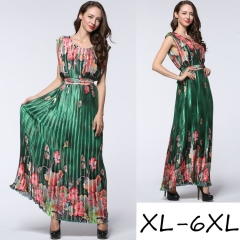 women's plus-size sleeveless dress fashion printed pleated crushed Bohemian loose long dress green xl