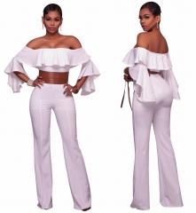 high quality casual jumpsuit slash neck full length jumpsuit short sleeve summer jumpsuit white s