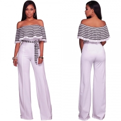 Womens Sexy Off Shoulder High Waisted Long Wide Leg Jumpsuits Rompers Belted white 2xl