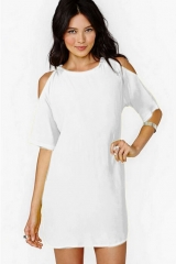 1/2 Sleeve Out Of Shoulder Sexy O-neck Casual Dresses Ladies Office Wear To Work Business Day Dress white s
