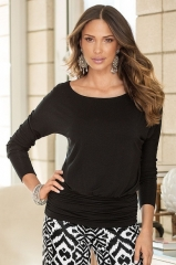 Big Size Loose Full Sleeve O-neck Sexy Top Shirt Ladies Office Wear To Work-black Business Shirt black s