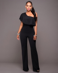 Fashion summer jumpsuit slash neck casual jumpsuit sexy full length jumpsuit black m