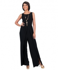 round collar type sexy loose jumpsuits nightclub sleeveless fashion leisure jumpsuits black m