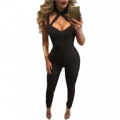 Womens Deep V Halter Backless Jumpsuit Blue Sleeveless Sexy Bodycon Playsuits And Jumpsuits black m