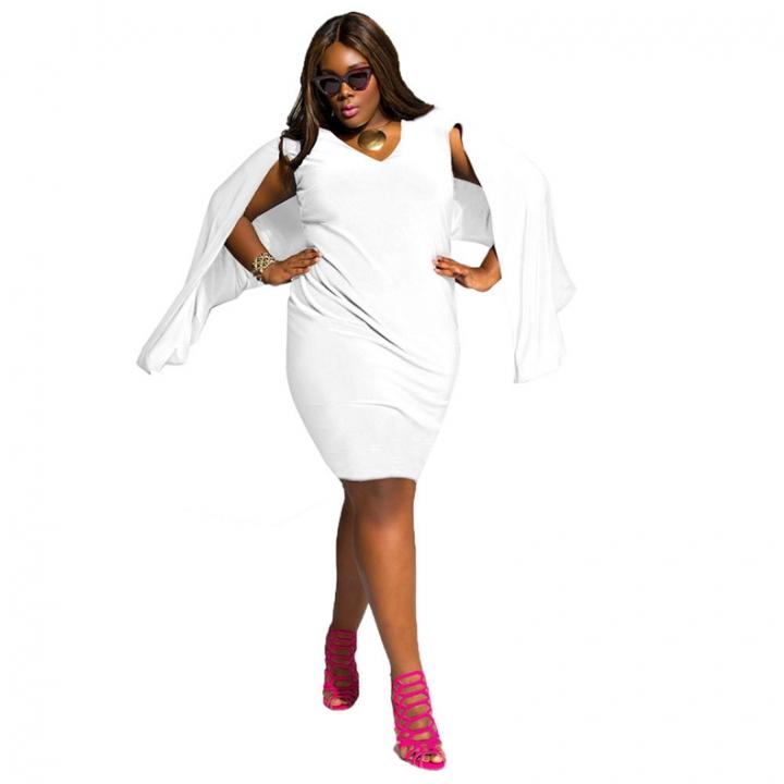 85ba2812a314 Big Size Women Dress V Neck Casual Loose Party Dresses Plus Size 4XL Long  Sleeve Ladies