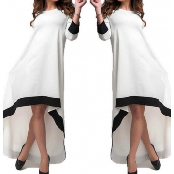 Cotton Maxi Dress Casual Dresses Pockets Vestidos white s
