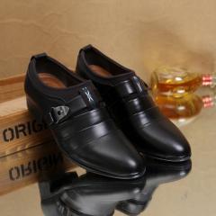 Men Dress Shoes Men Business Flat Shoes Leather Breathable Men Formal Office Shoes Pointed Toe black 38