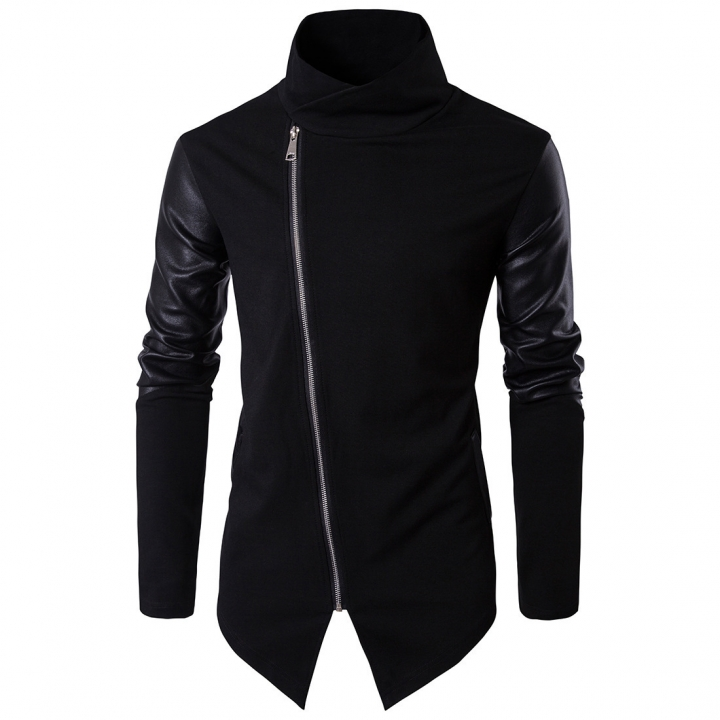 Mens leather sweatshirt Long Sleeve PU Leather Stand Collar Slim Fitness Shirt Men Pullover black M