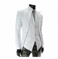 Arrival Casual Slim Stylish fit One Button Suit men Blazer Jackets Male Fashion Clothing Plus Size white m