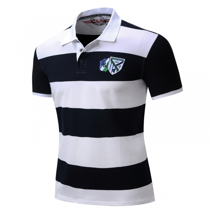 Men Polo Shirt Mens Striped Casual Shirts Leisure Short Sleeve Tops 100% Cotton Plus Size blue xl