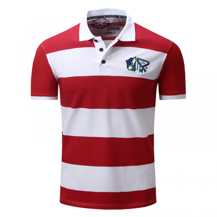 Men Polo Shirt Mens Striped Casual Shirts Leisure Short Sleeve Tops 100% Cotton Plus Size red xxl