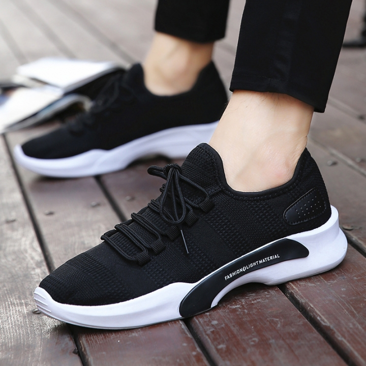 Mesh Sport Shoes Mens Height Increasing Lace-Up Running Shoes Elastic Soles Male Sneakers Big Size black 43
