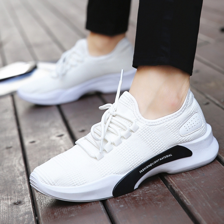 Mesh Sport Shoes Mens Height Increasing Lace-Up Running Shoes Elastic Soles Male Sneakers Big Size white 43