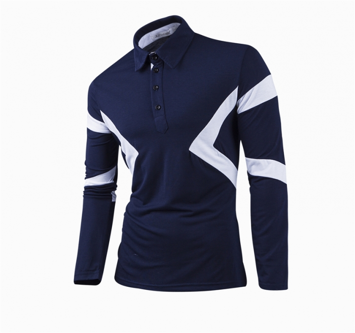 New Classic Mens Polo Shirts Long Sleeve Spring Men's Shirt Brands Camisa Polo Masculina Plus Size blue m