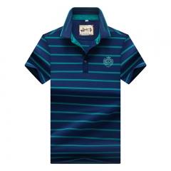 Men Polo Shirt New Cotton Summer Striped Polo Men Business Casual Men's Clothing Short-sleeved Polo blue 3xl
