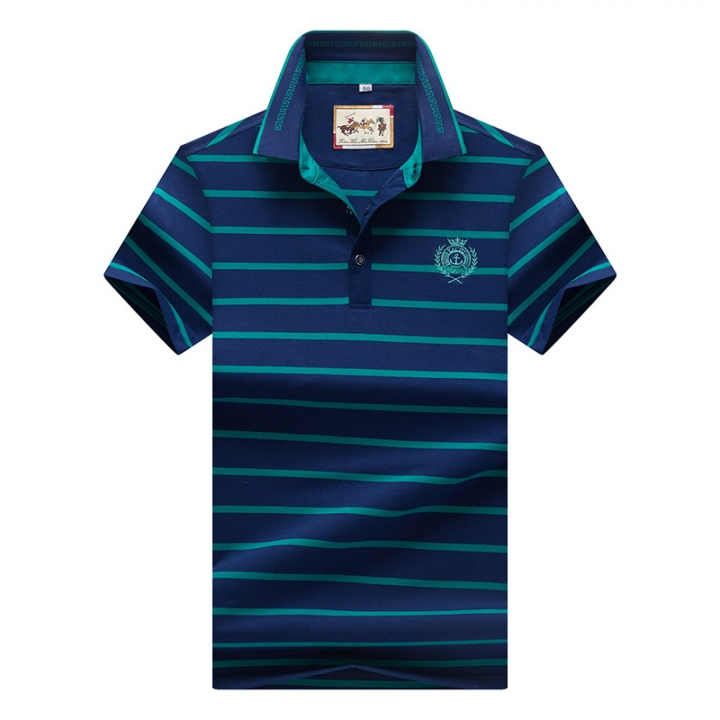 Men Polo Shirt New Cotton Summer Striped Polo Men Business Casual Men's Clothing Short-sleeved Polo blue l