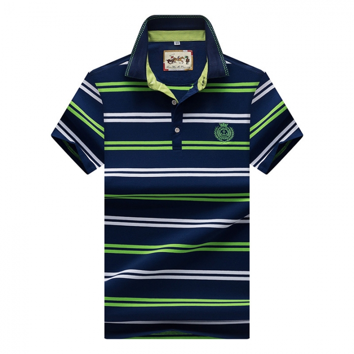 Men Polo Shirt New Cotton Summer Striped Polo Men Business Casual Men's Clothing Short-sleeved Polo green m