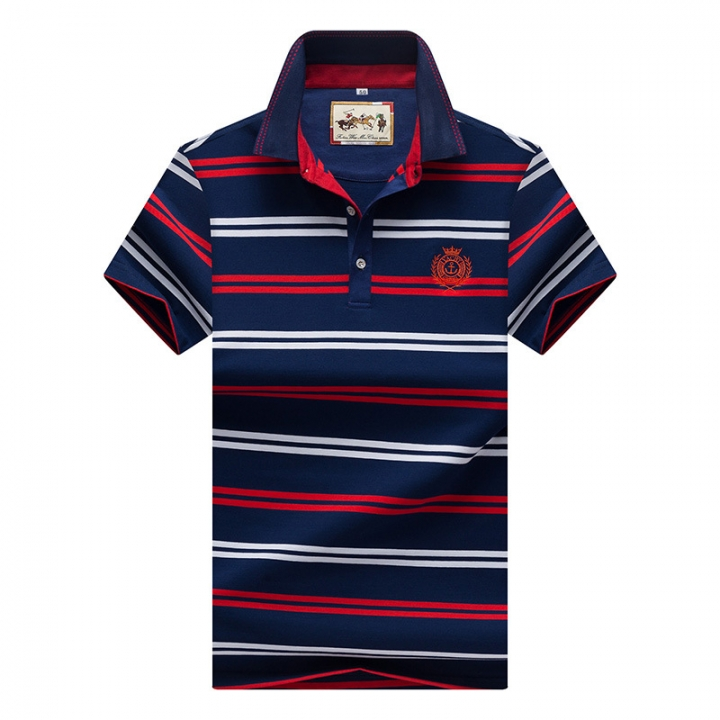 Men Polo Shirt New Cotton Summer Striped Polo Men Business Casual Men's Clothing Short-sleeved Polo red l