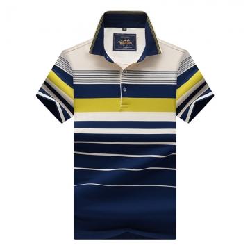 Men Polo Shirt New Cotton Summer Striped Polo Men Business Casual Men's Clothing Short-sleeved Polo green m