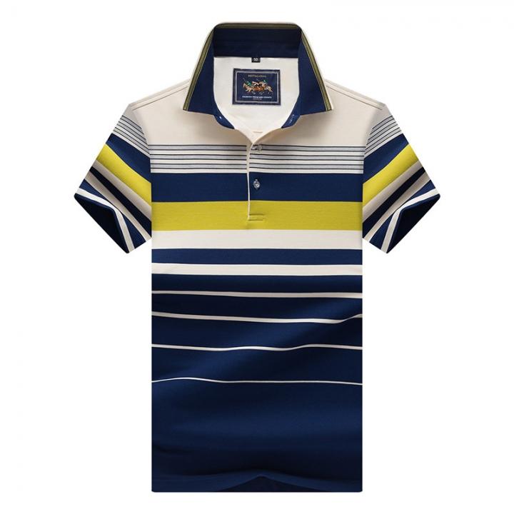 Men Polo Shirt New Cotton Summer Striped Polo Men Business Casual Men's Clothing Short-sleeved Polo green l